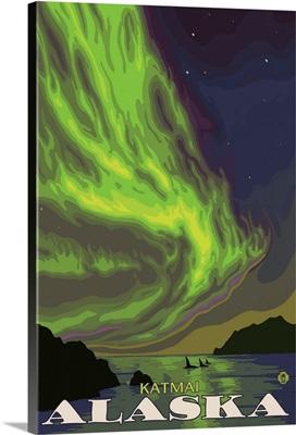 Northern Lights and Orcas - Katmai, Alaska: Retro Travel Poster
