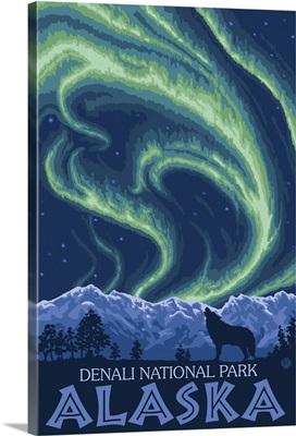 Northern Lights - Denali National Park, Alaska: Retro Travel Poster
