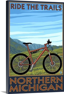 Northern Michigan - Ride the Trails: Retro Travel Poster