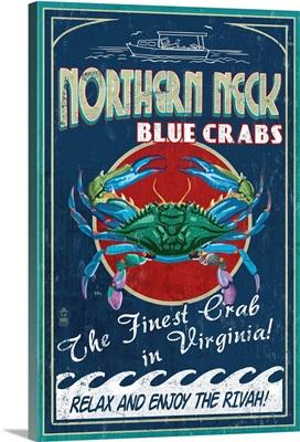 Northern Neck, Virginia, Blue Crab Vintage Sign
