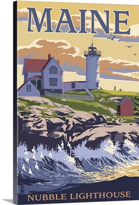 Nubble Lighthouse - York, Maine: Retro Travel Poster