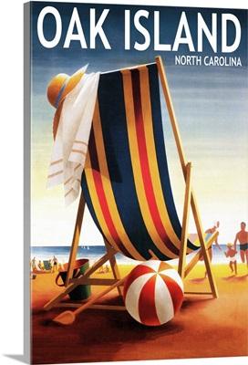 Oak Island, North Carolina, Beach Chair and Ball