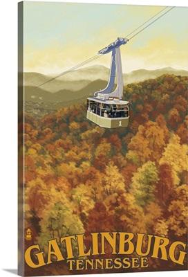 Ober Gatlinburg Aerial Tram- Lantern Press Original Poster: Retro Travel Poster