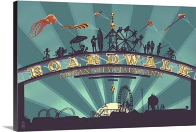 Ocean City, Maryland - Boardwalk Sign: Retro Travel Poster