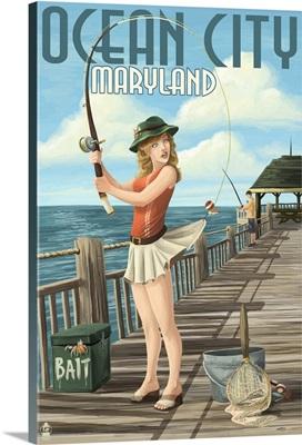 Ocean City, Maryland - Fishing Pinup Girl: Retro Travel Poster