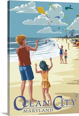 Ocean City, Maryland - Kite Flyers: Retro Travel Poster