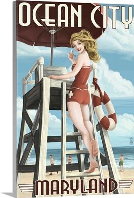 Ocean City, Maryland - Lifeguard Pinup Girl: Retro Travel Poster