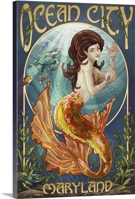 Ocean City, Maryland - Mermaid: Retro Travel Poster