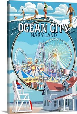 Ocean City, Maryland - Montage Scenes: Retro Travel Poster