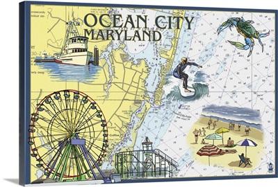 Ocean City, Maryland - Nautical Chart: Retro Travel Poster