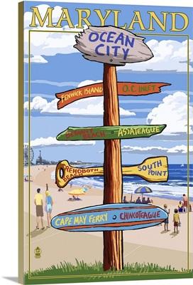Ocean City, Maryland - Sign Destinations: Retro Travel Poster