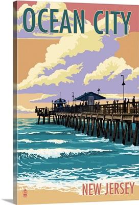 Ocean City, New Jersey - Fishing Pier: Retro Travel Poster
