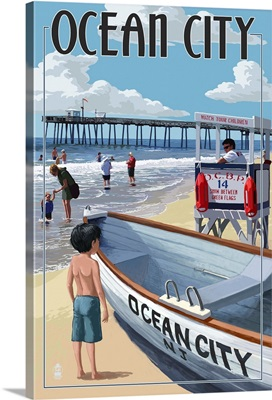 Ocean City, New Jersey - Lifeguard Stand: Retro Travel Poster