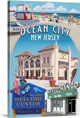 Ocean City, New Jersey - Montage: Retro Travel Poster