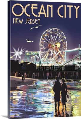 Ocean City, New Jersey - Pier and Rides at Night: Retro Travel Poster