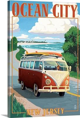 Ocean City, New Jersey - VW Van Coastal Drive: Retro Travel Poster