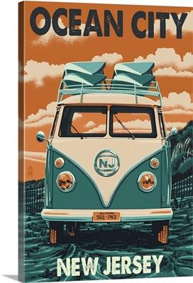 Ocean City, New Jersey - VW Van Letterpress: Retro Travel Poster