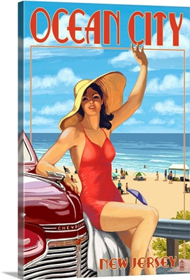 Ocean City, New Jersey - Woman Waving: Retro Travel Poster