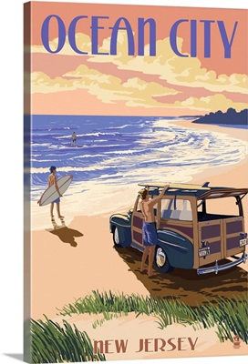 Ocean City, New Jersey - Woody On The Beach: Retro Travel Poster