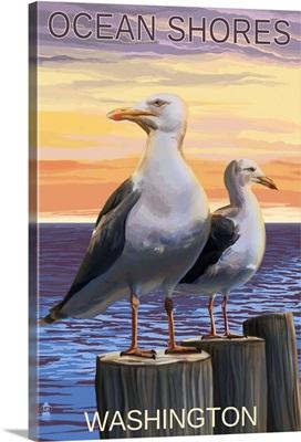 Ocean Shores, Washington - Seagulls: Retro Travel Poster