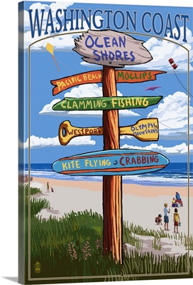 Ocean Shores, Washington - Sign Destinations: Retro Travel Poster