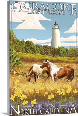 Ocracoke Lighthouse - Outer Banks, North Carolina: Retro Travel Poster