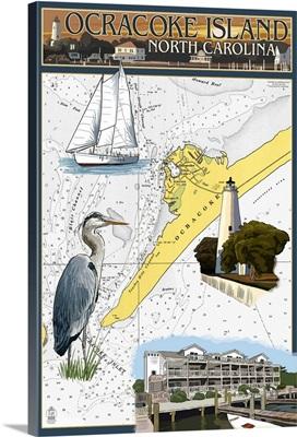 Ocracoke, Outer Banks, North Carolina - Nautical Chart: Retro Travel Poster