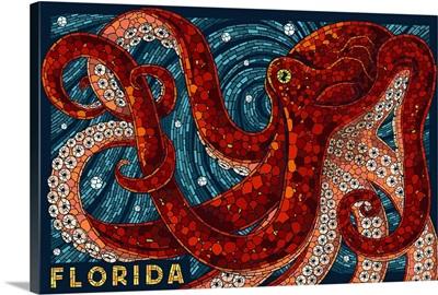 Octopus Paper Mosaic - Florida: Retro Travel Poster