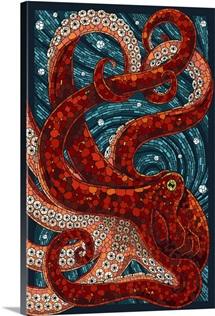 Octopus - Paper Mosaic: Retro Travel Poster