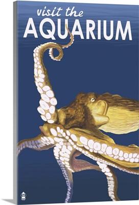 Octopus - Visit the Aquarium: Retro Travel Poster