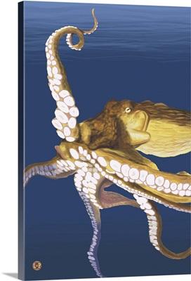 Octopus (Yellow): Retro Travel Poster
