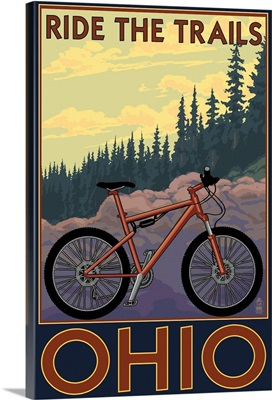 Ohio - Bicycle Ride the Trails: Retro Travel Poster