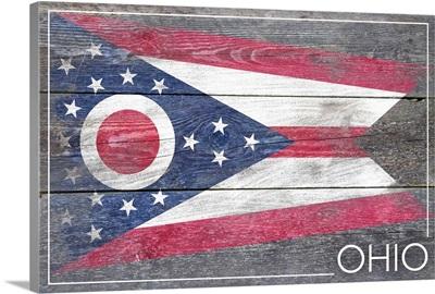 Ohio State Flag on Wood