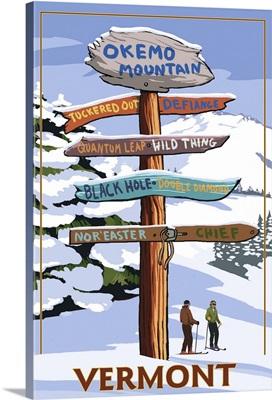 Okemo Mountain Resort, Vermont - Ski Sign Destinations: Retro Travel Poster
