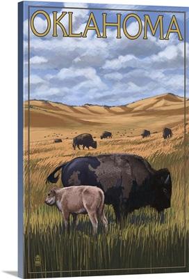 Oklahoma - Buffalo and Calf: Retro Travel Poster