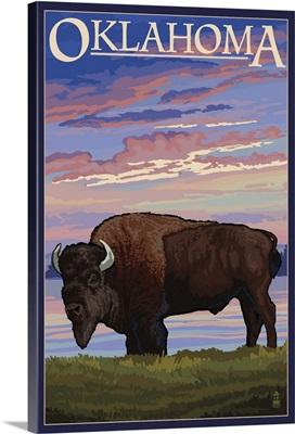 Oklahoma - Buffalo and Sunset: Retro Travel Poster