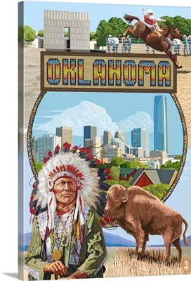 Oklahoma - Montage Scenes: Retro Travel Poster