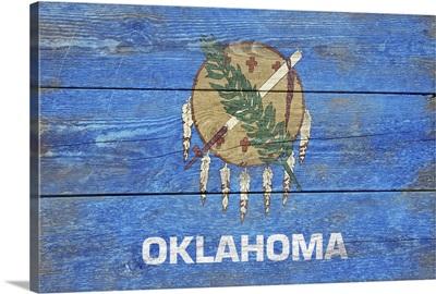 Oklahoma State Flag on Wood