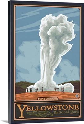 Old Faithful Geyser - Yellowstone National Park: Retro Travel Poster