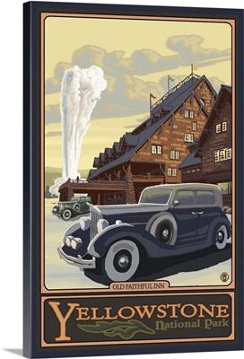 Old Faithful Inn - Yellowstone National Park: Retro Travel Poster