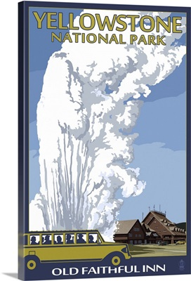 Old Faithful Lodge and Bus - Yellowstone National Park: Retro Travel Poster