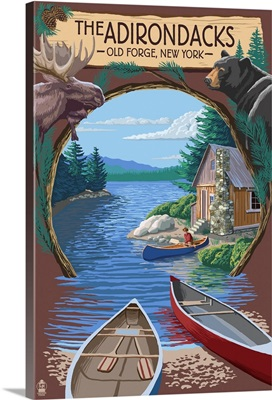 Old Forge, New York - The Adirondacks Scene: Retro Travel Poster