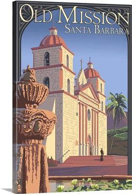 Old Mission - Santa Barbara, California: Retro Travel Poster