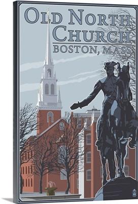 Old North Church - Boston, MA: Retro Travel Poster