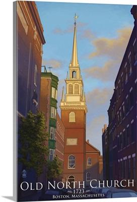 Old North Church - Boston, Massachusetts: Retro Travel Poster