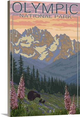 Olympic National Park - Bear Family and Spring Flowers: Retro Travel Poster