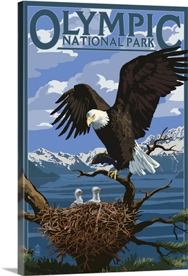 Olympic National Park - Eagle and Chicks: Retro Travel Poster