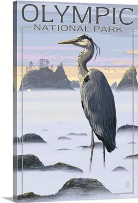 Olympic National Park - Heron and Fog Shorline: Retro Travel Poster