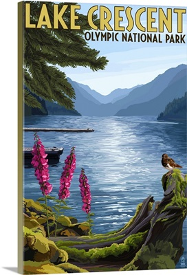 Olympic National Park, Washington - Lake Crescent: Retro Travel Poster