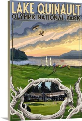 Olympic National Park, Washington - Lake Quinault: Retro Travel Poster